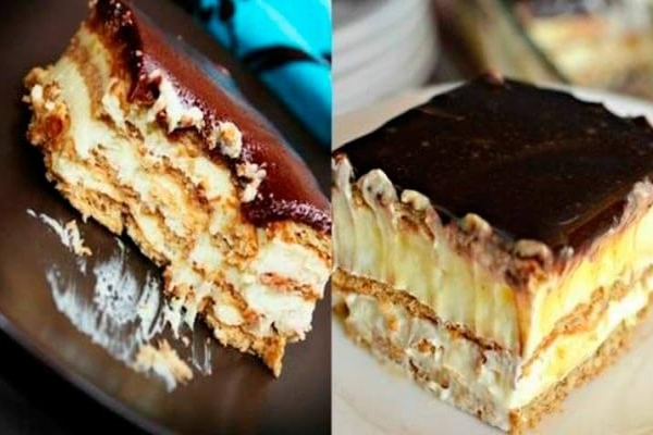 Торт-эклер из печенья без выпечки