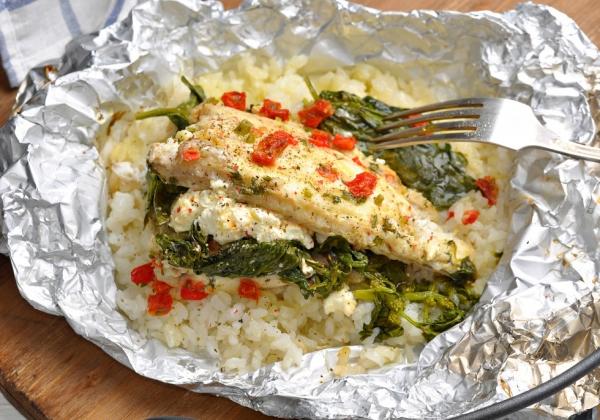 4. Филе белой рыбы с кускусом.
