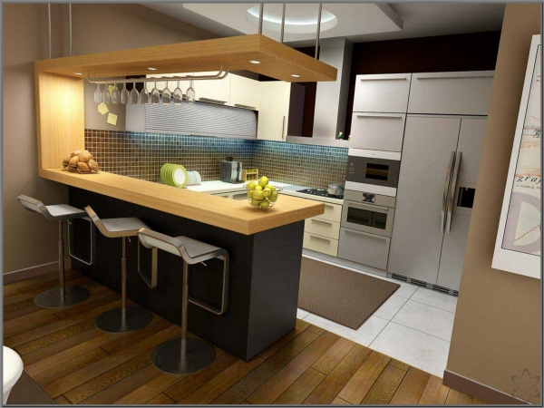Барная стойка в интерьере кухни 6